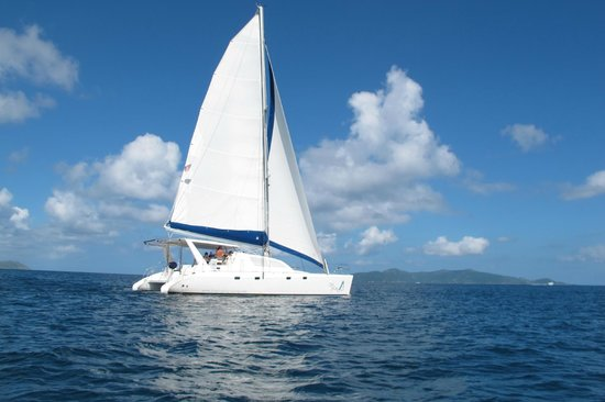 Off Cay with Singing Dog Sailing