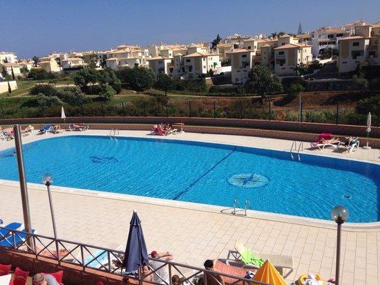 Solaqua Apartments : Pool area taken from ground floor balcony.