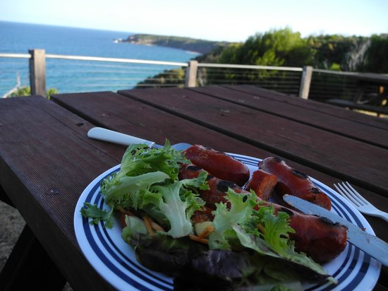 NRMA  Merimbula Beach Holiday Park : eating dinner at the picnic tables soaking in the view