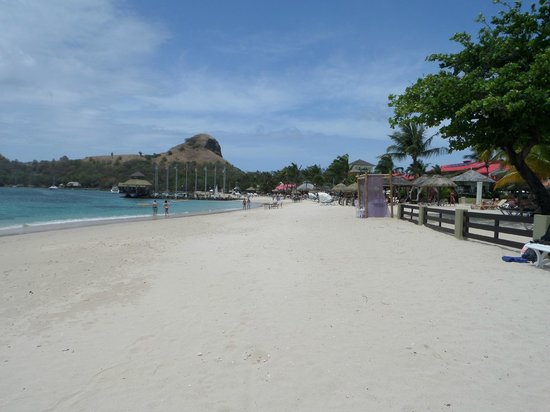 Sandals Grande St. Lucian Spa & Beach Resort : The beach and Pigeon Island in the background