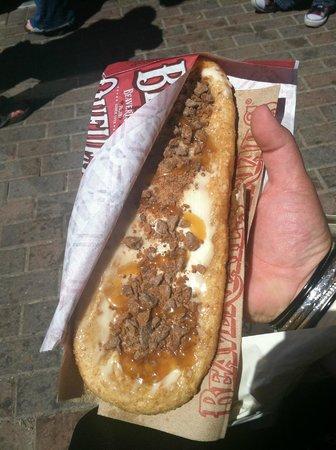 BeaverTails Niagara Falls: The Avalanche - cream cheese spread, Skor candy bar, caramel sauce