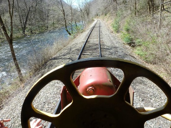 Great Smoky Mountains Railroad: View out of the back of the caboose