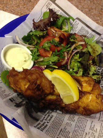 Upper Liard Lodge : Beer battered cod and spring herb salad