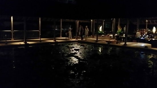 The Datai Langkawi : Night view of the lobby miniature lake