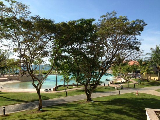 The Empire Hotel & Country Club : View from my balcony. Swimming lagoon with South China Sea in background