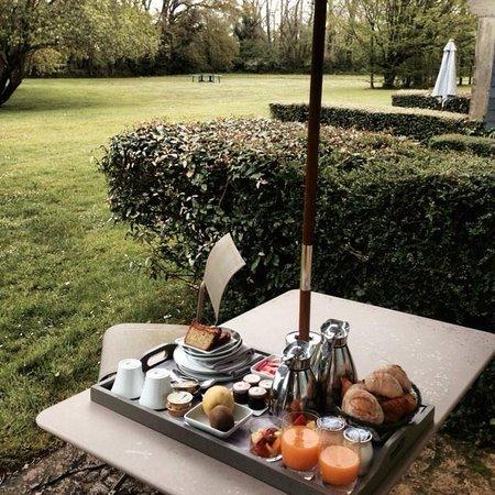 Les Manoirs de Tourgéville : Petit déjeuner dans le jardin