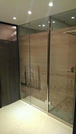 Hotel Riu Palace Bonanza Playa: Inodoro y ducha, detrás de las cadenas es el guardarropa