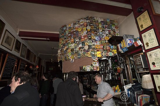 The Harp: Bar with great collection of eclectic beer and cider coasters