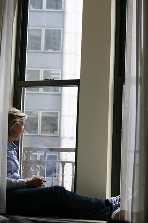 Martinique New York on Broadway, Curio Collection by Hilton: My mom enjoying her tea and the view