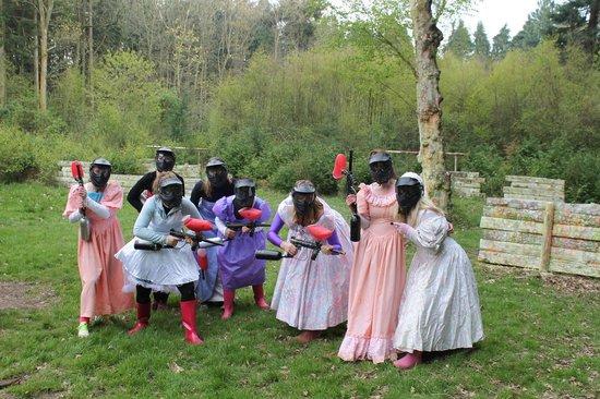 Oaker Wood Leisure: paintballing in bridesmaid dresses