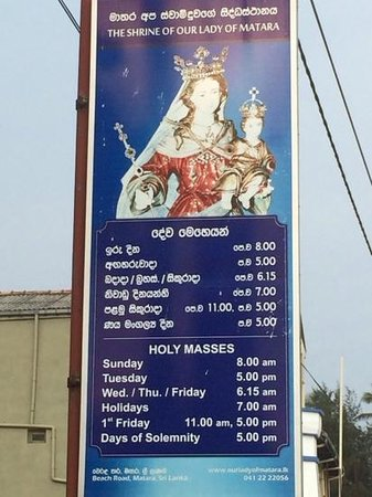 The Shrine of Our Lady of Matara: Mass Times, The Ave Maria Church Matara.