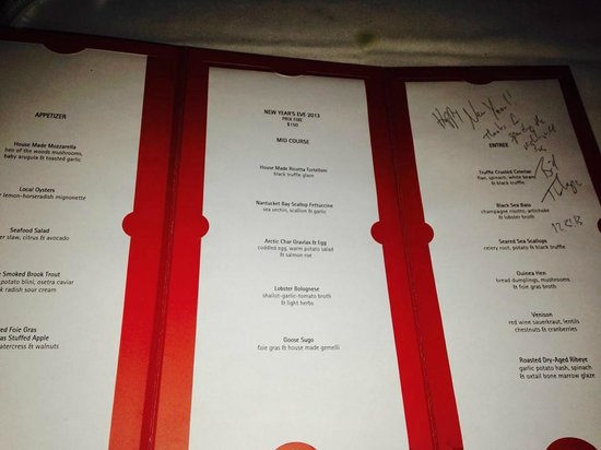 Telepan: The owner/executive chef came out from his busy schedule and signed the menu for us.