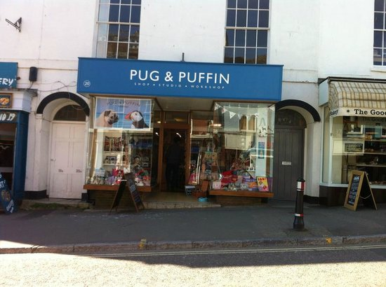 Pug and Puffin: outside of the shop