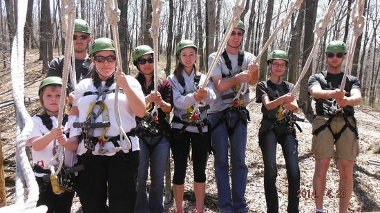 Explore Brown County at Valley Branch Retreat: Getting ready to go down our first zip!
