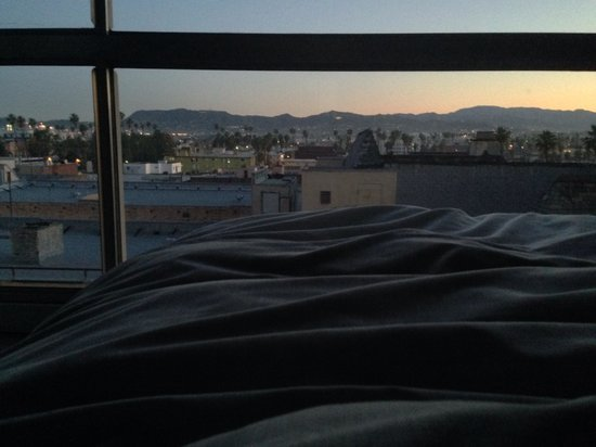 The Line : Good morning LA: view of the Hollywood Hills from our bed (eighth floor)