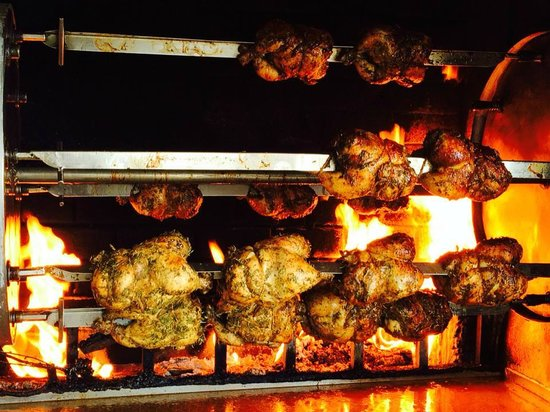 Chicken! Chicken! Caribbean Wood Roasted: Wood fire rotisserie as you enter