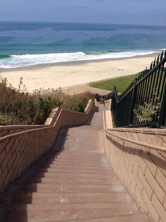 View from top of stairs at end of Dana Point boardwalk just before nature trail headend. Ramp co
