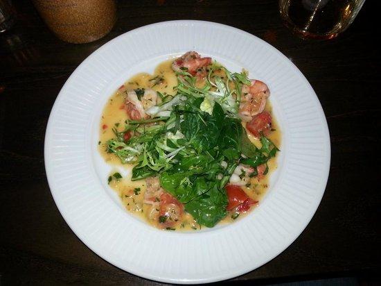 Cote Brasserie - Chichester: Warm Tiger Prawn Salad (sautéed Tiger Prawns with Chilli, Garlic, Lemon, Parsley and Cherry Toma