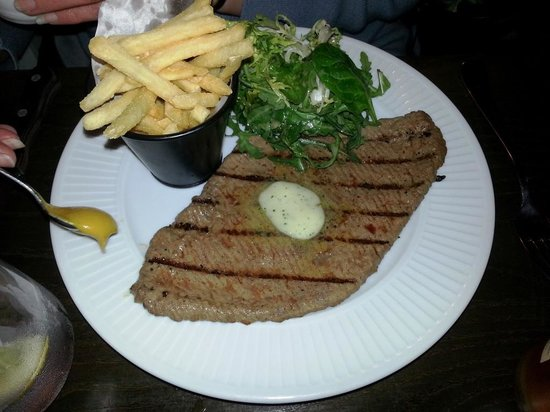 Cote Brasserie - Chichester: Steak Frites (Chargrilled thinly beaten out Minute Steak served pink with Frites and Garlic Butt