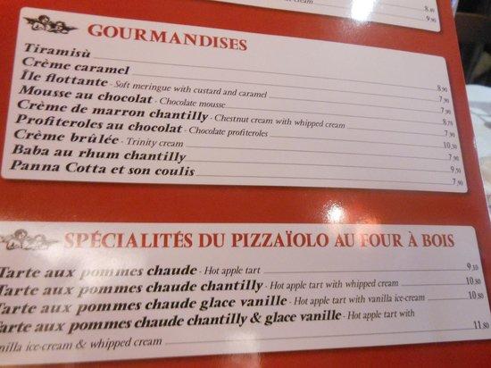 La Pizza Cresci: La carte