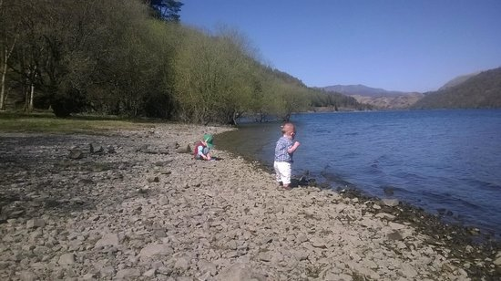 Dale Head Hall: Beach directly across lake Thirlmere from hotel.