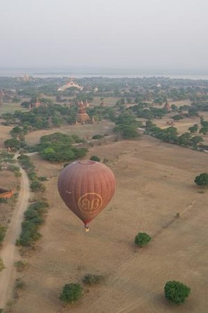 Balloons over Bagan: View of another balloon and the temples beyond.