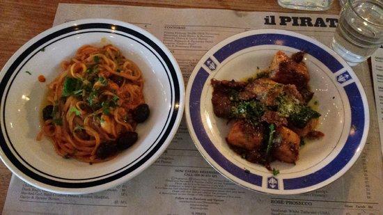 Il Pirata: My two half pasta portions- linguine and gnocci