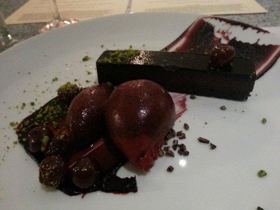 Blackfriars Restaurant : Three-layered brownie cake, brandied cherries, pistachio, cherry sorbet :)