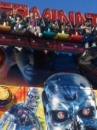 Barry Island Pleasure Park : My daughter on the Terminator ride