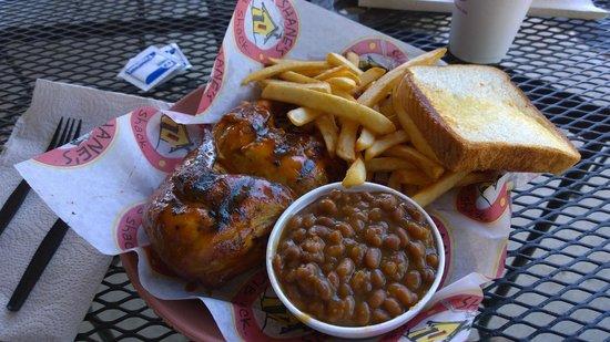 Shane's Rib Shack: Bbq chicken, fries and bean.