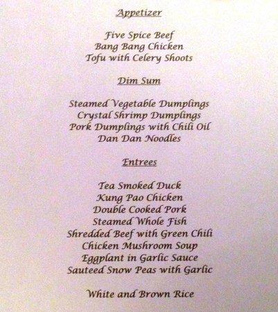 Cafe China: Banquet menu