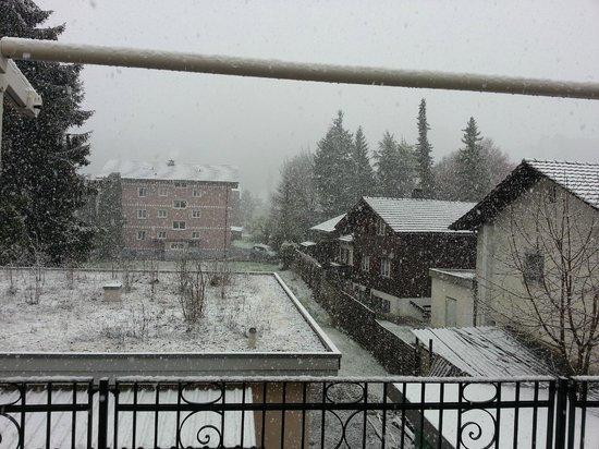 Swiss Inn Hotel & Apartments : Snow views from Balcony