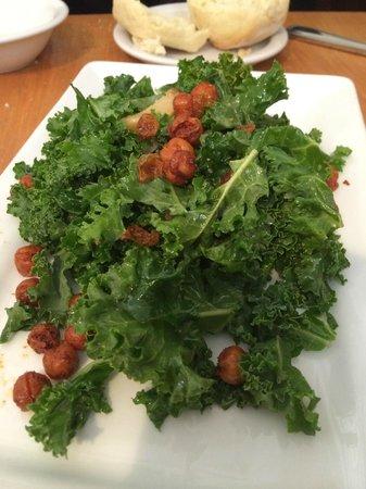 La Boca: kale salad with fried garbanzos, roasted garlic, and lemon vinaigrette