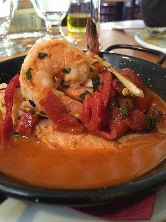 La Boca: gambas al ajillo~ traditional garlic shrimp with roasted bell peppers, white wine and pimenton