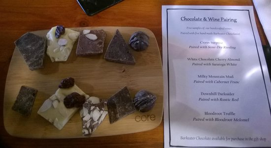The Saratoga Winery: The chocolates and menu for the pairing