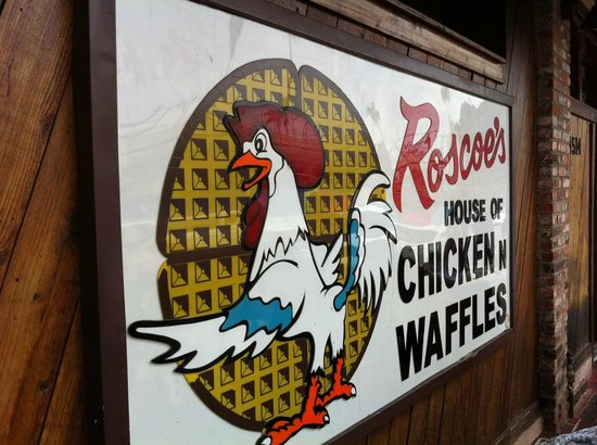 Roscoe's House of Chicken & Waffles: Gower St sign