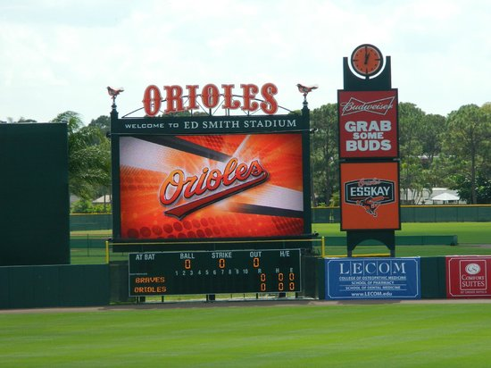Ed Smith Stadium: The scoreboard is modern
