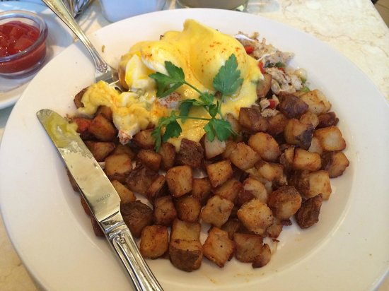 The Cheesecake Factory: Crab Hash - Crab meat, poached eggs with hollandaise sauce over potatoes...