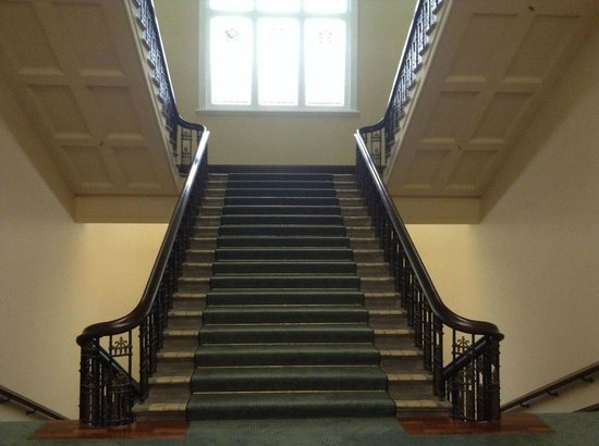 Heritage Christchurch: The grand staircase, which we used to access our room, although there is a lift.