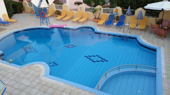 Cosmi Apartments: Our last night and the pool looking lost without our kids