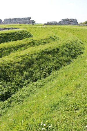 Richborough Roman Fort and Amphitheatre: Across the deep grassy ditches