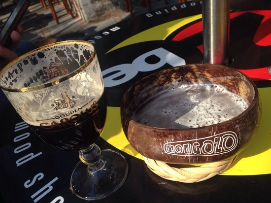 2be Beer Wall: My mongozo coconut beer, served on a coconut!!