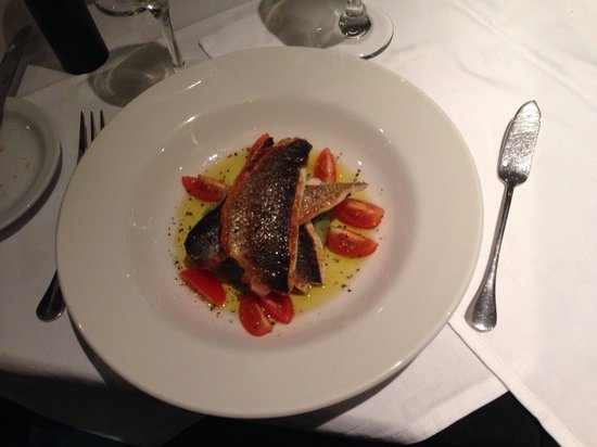Pierre's: Fillet of sea bass, herb mash, tomatoes and olive oil (on set menu).