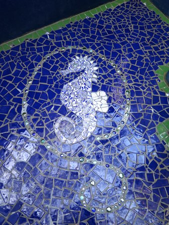 Off The Wall Dive Center & Resort: Mosaic tile floor in outdoor shower