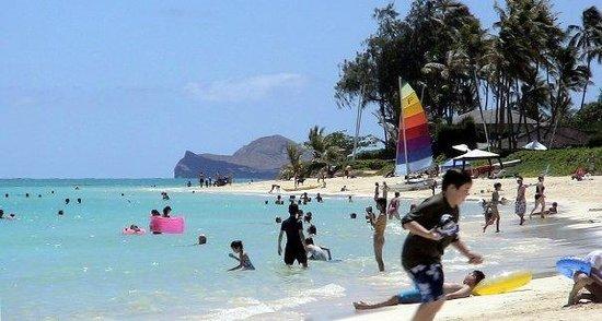 Lanikai Beach on a busy morning.