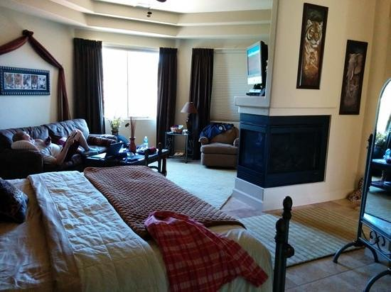 "Sedona Cathedral Hideaway: huge room....""living area"" side...bed, couch, tv, fold out coffee table :)"
