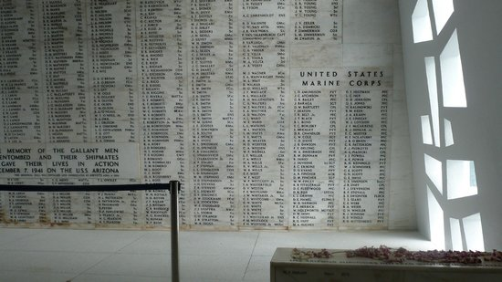 USS Arizona Memorial: Arizona memorial wall of deceased.