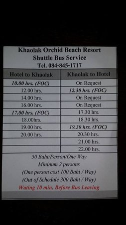 Khaolak Orchid Beach Resort: The shuttle's schedule