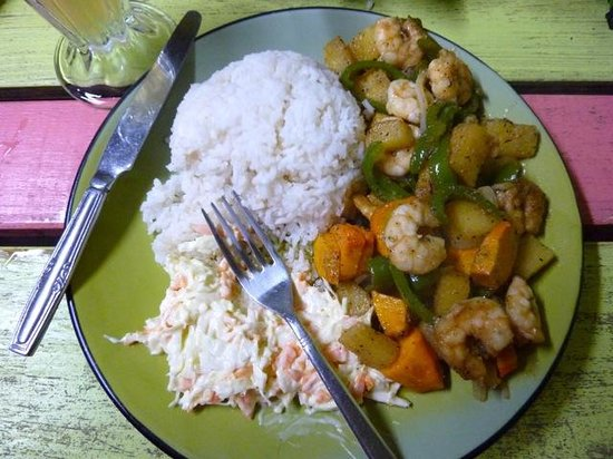 Meldy's: Pineapple shrimp with coconut rice