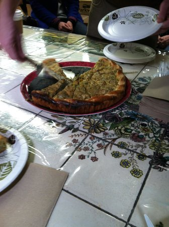 Foods of New York Tours: Kurt made certain that everyone had plenty of Italian Mushroom Crostata